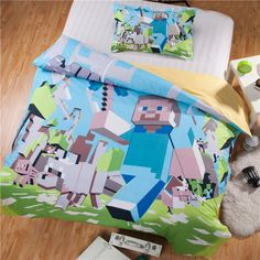 PreSell Minecraft Duvet Cover Set Twin/Full/Queen Size Minecraft Bedding Wholesale 100% Cotton Quantity is