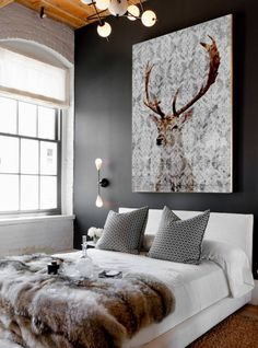 Find stylish examples of black accent walls perfect for a wall in your home that is tough to style. Domino shares photos of black accent walls to try in your home. Contemporary Bedroom, Modern Bedroom, White Bedrooms, Contemporary Art, Modern Art, Staircase Contemporary, Black Master Bedroom, Contemporary Building, Contemporary Cottage