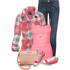 Plaid Flannel Shirt by daiscat on Polyvore featuring moda, American Eagle Outfitters, Frame Denim, Full Tilt, Converse, MARC BY MARC JACOBS and Orelia