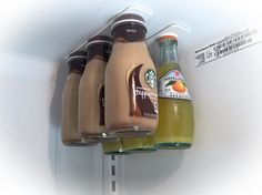 You'll always have room in your fridge for drinks when you use these super strong magnets to hang bottles from your fridge's ceiling. Plus, this organizer frees up space underneath the beverages for food, too. Click through for a how-to and other space-saving refrigerator organizing hacks.