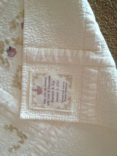The label I made for my son's wedding quilt.