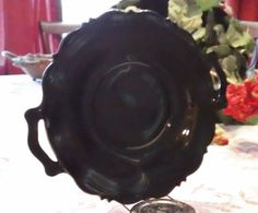Vintage BLACK AMETHYST GLASS Serving Plate with Handles Depression