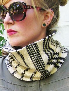 Knitting Pattern for French Linen Cowl - Black and white stripes combine with Linen stitch to create a cozy and stylish accessory reminiscent of a classically beautiful woven tea towel. Worked flat with no shaping. 2 seaming variations creating different looks: a traditional cowl or an edgy collar style cowl. Sport weight yarn. 3 sizes. Designed by ForestandFiber