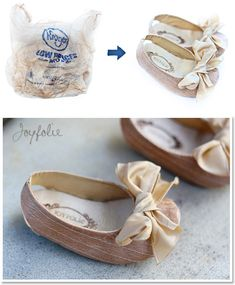 Fused plastic bags = new cute shoes for baby