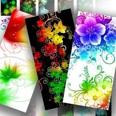 Digital collage sheet 1x2 inch domino tile downloads altered art jewelry making paper supplies Floral rainbow flower