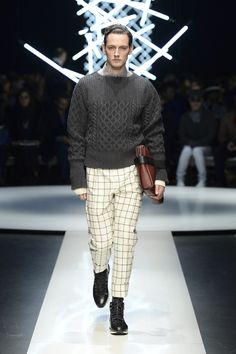 Boatneck wool sweater with braiding detail, wool check pants, calfskin document holder and high-top sneakers #CanaliFW15 #mfw #menswear #moda #FW15