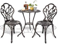 Patio Bistro Set 3 Piece Dining Table and amp; Chairs Outdoor Garden Furniture #Unbranded