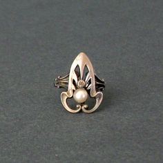 Art Nouveau Jewelry | Antique Art Nouveau Jewelry Ring . Sterling Faux Pearl by TheDeeps