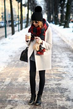 25 Stylish Winter Outfits From Pinterest to Copy Now - I know plaid is in but I'm not a huge fan of plaid.