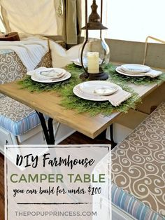Build your own farmhouse folding table for your camper. Popup Camper Remodel, Diy Camper, Camper Ideas, Camper Life, Rv Life, Camper Storage, Camper Hacks, Camper Renovation, Farmhouse Folding Tables