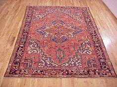 "Persian: Geometric 10' 7"" x 7' 3"" Vintage Heriz at Persian Gallery New York - Antique Decorative Carpets & Period Tapestries"