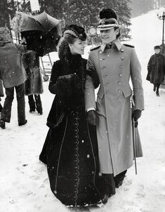 "Helmut Berger, Romy Schneider on the set of ""Ludwig II"" (1972). Director: Luchino Visconti."