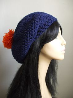Pom Pom Pretty Crochet Slouchy Hat Beret Tam by everything2for32, $16.00