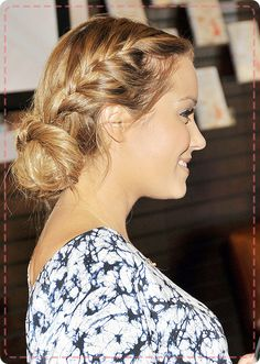Get a Lauren Conrad-inspired, messy, braided updo with our hair tutorial http://www.bobbyglam.com/blog/2014/04/how-to-get-a-messy-braided-updo/