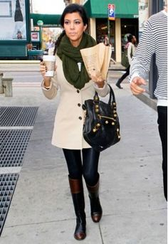 @KourtneyKardashian, two tone riding boots
