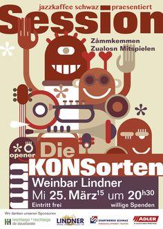 """Die Session vom jazzkaffee schwaz in der Weinbar Lindner mit der Band """"Die Konsorten""""."""
