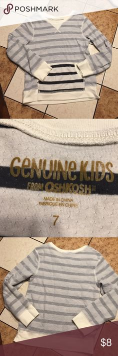 Genuine Kids Pullover Comfy Pullover by OshKosh!! Gray, cream, blue colors goes great with Khaki, Denim or sweats! Dress up or down. My son wore it a couple of times and outgrew it! In great condition!! Osh Kosh Shirts & Tops Sweatshirts & Hoodies