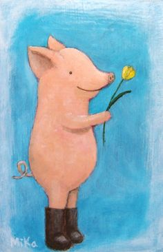 ORIGINAL Painting Pig Love Illustration Flower Gift by mikaart❤