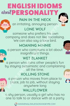30 English Idioms describing Character and Personality Learn English Idioms related to Character and Personality. Learn to describe people in English. Improve your English vocabulary. English Vinglish, English Tips, English Idioms, English Phrases, English Lessons, English Grammar, English Online, French Lessons, English People