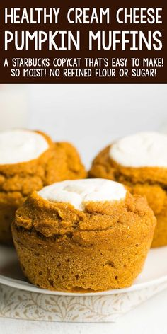 Healthy Pumpkin Cream Cheese Muffins - a skinny, low calorie copycat recipe that tastes even BETTER than the Starbucks originals! Sweet, moist & SO good! ♡ healthy copycat starbucks pumpkin cream cheese muffins. best homemade pumpkin cream cheese muffins recipe with ww points. Healthy Cupcakes, Healthy Cake, Healthy Pumpkin, Healthy Muffins, Healthy Cookies, Healthy Baking, Pumpkin Cream Cheese Muffins, Pumpkin Ice Cream, Pumpkin Pie Bars