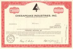 Chesapeake industries stock certificate specimen - Collectible Stocks and Bonds Money Frame, Stocks And Bonds, Retro Vector, Vector Design, Vignettes, Certificate, Company Logo, Industrial, Things To Sell