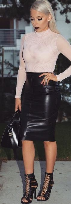 Blush Top + Black Leather Skirt