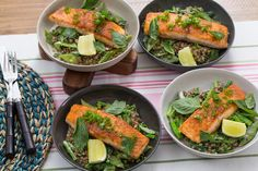 Thai-Spiced Salmon with Coconut Lentils, Romano Beans & Yu Choy. Visit https://www.blueapron.com/ to receive the ingredients.