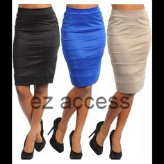 """Blue high waist pencil fitted skirt sexy new fitted panel bandage style pencil light weight skirt..they features trendy high wasit style and made of fabric block/panel.  Fabric Content: 92%POLYESTER 8%SPANDEX Eye Catching vinatge mod style/look.perfect for wear to work /CAUSAL or formal wear.   ⭐️size S= Waist 26-30"""", Hips 32-36"""", Total Length=23""""  ⭐️size M= Waist 28-32"""", Hips 34-38"""",Total Length=23""""   ⭐️size L= Wasit 30-34:, Hips 36-40"""", Total Length=23"""" boutique Skirts Pencil"""