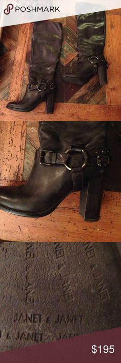 """Amazing Janet & Janet Tall Leather Boots Janet & Janet, size 37. Black leather with silver metal hardware. Pull up and full calf. 2.5"""" chunky heel. Pre-loved, beautiful condition, minimal wear. Janet & Janet Shoes Heeled Boots"""