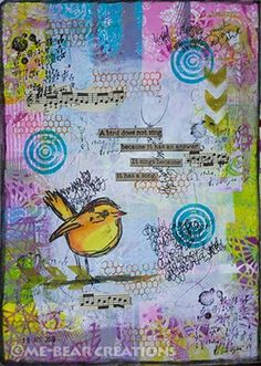 """""""A Bird"""" Art Journal page in my large Dylusions art journal."""