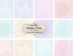 12 x 12 digital paper pack scrapbook collage sheet pale colors printable pastel colors instant download blue pink paisley