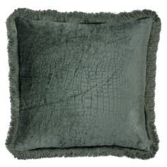Fringed Croc Cushion, Teal | Cushions - Accessories