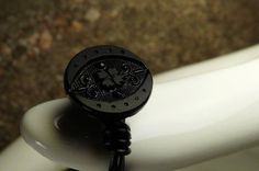 Little Black Wire Wrapped Vintage Glass Button Ring by ksyardbird, $12.00