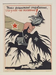 A Russian World War II propaganda poster depicting an arm choking a straggly version of the Fascit Eagle The bird has a swastika on its wing and. Ww2 Propaganda Posters, Communist Propaganda, Political Posters, Political Cartoons, Grafic Art, Posters Vintage, Ww2 Pictures, Rare Images, Art Graphique