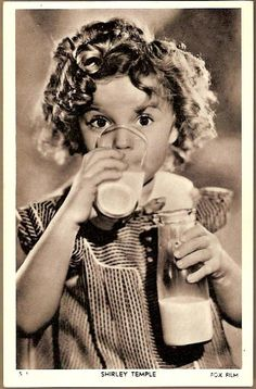 Vintage Post Card Hollywood Actress Shirley Temple with Milk - would have been a great got milk ad!