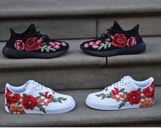 adidas with roses on them