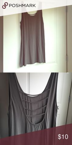 Olive dress with slits in back Olive colored slip dress with open back. Sized as a XL but fits more like a large Forever 21 Dresses Mini