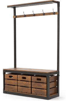 Layne Large Hall Stand, Black and Mango Wood - Flur Entrance Hall Furniture, Entryway Stairs, Hallway Furniture, Furniture Decor, Mango Wood Furniture, Coat Stand Hallway, Hallway Coat Storage, Porch Storage, Hall Storage Bench