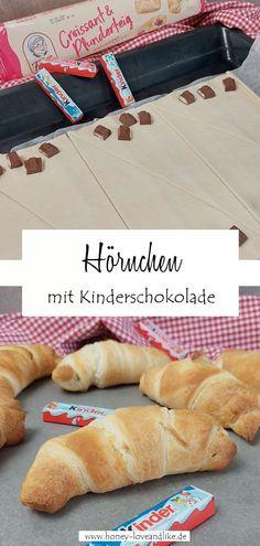 Schnelle Hörnchen mit Kinderschokolade – Croissant mit 2 Zutaten #Kinderschokolade #Croissant Easy Peasy, Hot Dog Buns, Good Food, Brunch, Party Ideas, Favorite Recipes, Sweet, Kid Recipes, Nice Breakfast