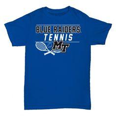 Cheer on the Blue Raiders in this tennis tee. #MTSU #blueraiders #textbookbrokers #tennis