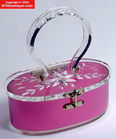 1950's pink Florida handbag Bakelite Lucite purse with very thick clear handle and lid