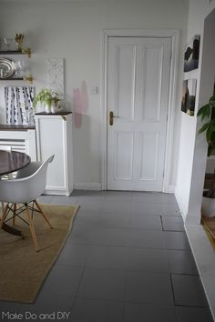 painted tile floor update, six months later, how is it holding up? Painting Ceramic Tile Floor, Painting Bathroom Tiles, Painting Tile Floors, Diy Painting, Living Room Flooring, Living Room Paint, Living Room Grey, Charcoal Paint, Grey Paint