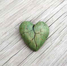 Linden Leaf Like Green Wooden Heart Brooch