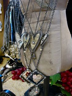Heart pendants.