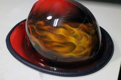 Flame wings airbrush painting on firefighter helmet