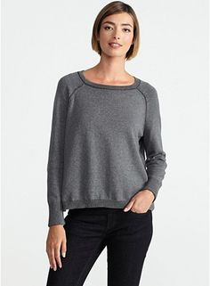 Bateau Neck Cropped Box-Top in Plaited Organic Cotton