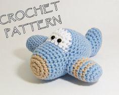 Avión bebé móvil algodón orgánico crochet avión por ByMarika