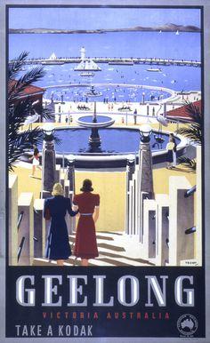 Mount Macedon poster by James Northfield Vintage Travel Posters, Vintage Postcards, Posters Australia, Australia Pics, A4 Poster, Poster Wall, Australian Vintage, Blue Artwork, Victoria Australia