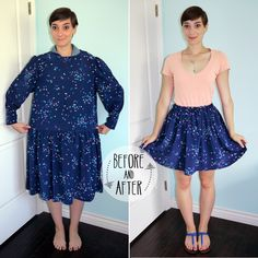 Dress To Skirt Refashion  •  Free tutorial with pictures on how to make a skirt in under 30 minutes #howto #tutorial