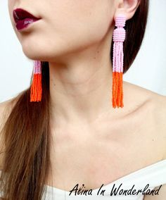 I'm in love with new long beaded tassel earrings in Oscar de la renta style.
